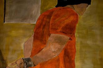 painting of a guantanamo bay prisoner in response to george h.w. bush The Mantle