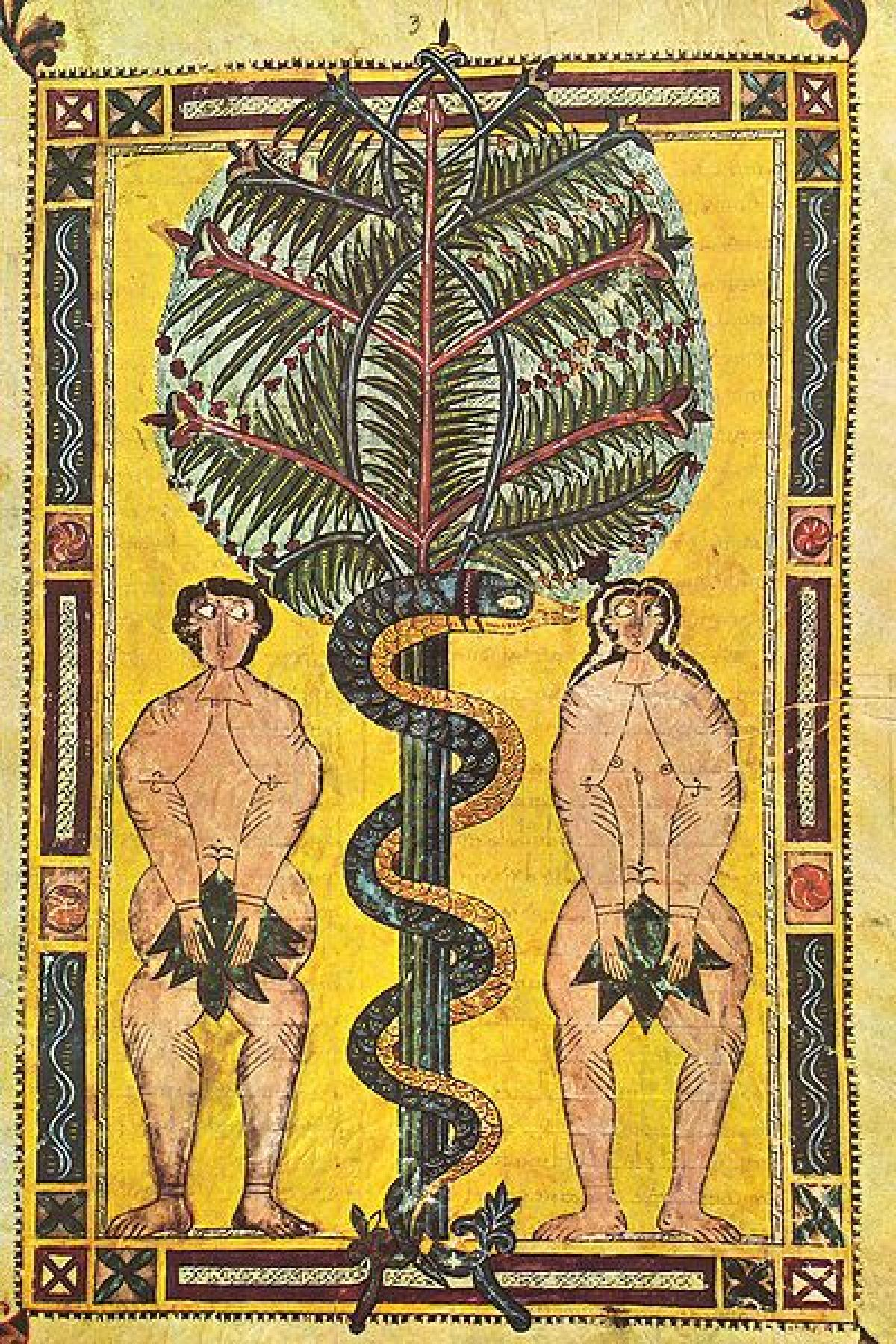 Adam and Eve, from the Escorial Beatus a 10th century illuminated manuscript. Adam and Eve The Mantle
