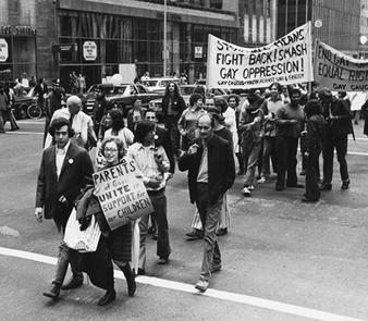 Jeanne Mansford marching in 1979 with her now famous sign