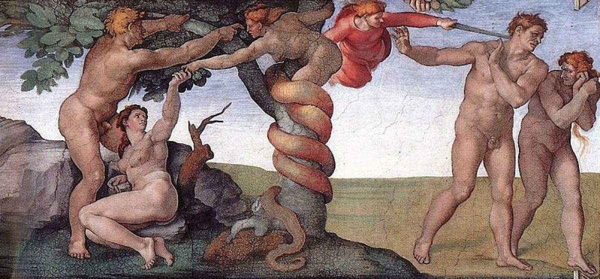 The fall from Paradise, as depicted by Michelangelo in the Sistine Chapel Adam and Eve The Mantle (1508-12)