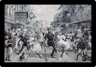 ​​Milton's etching of first Carnival in Port of Spain, Trinidad