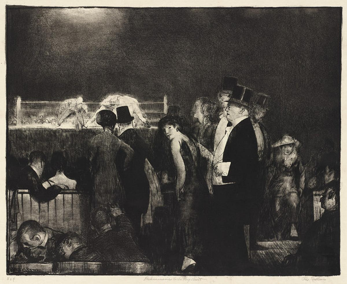 Preliminaries of the Big Bout (1916) by George Bellows The Mantle