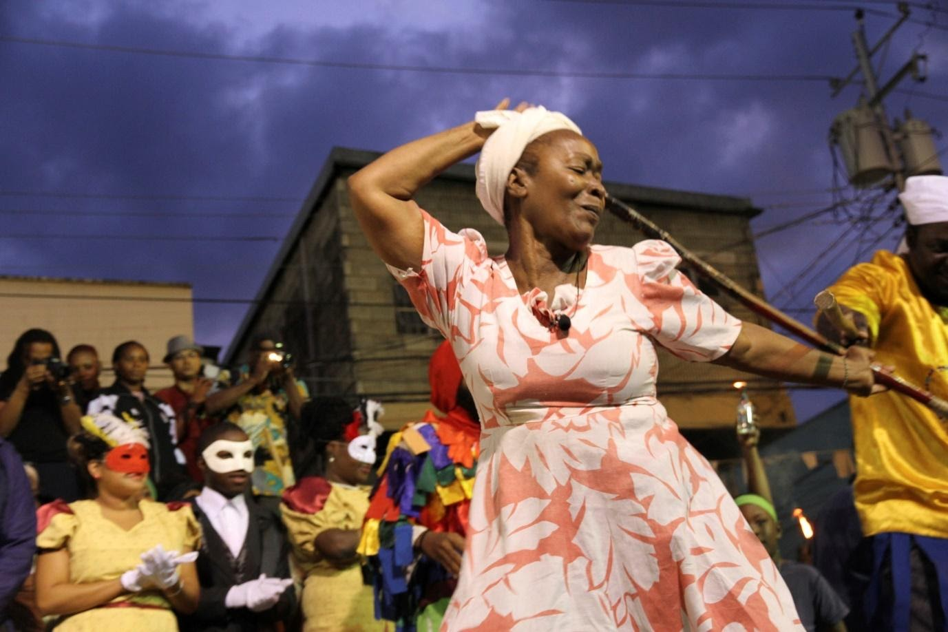 Eintou and members of the cast perform Kambule