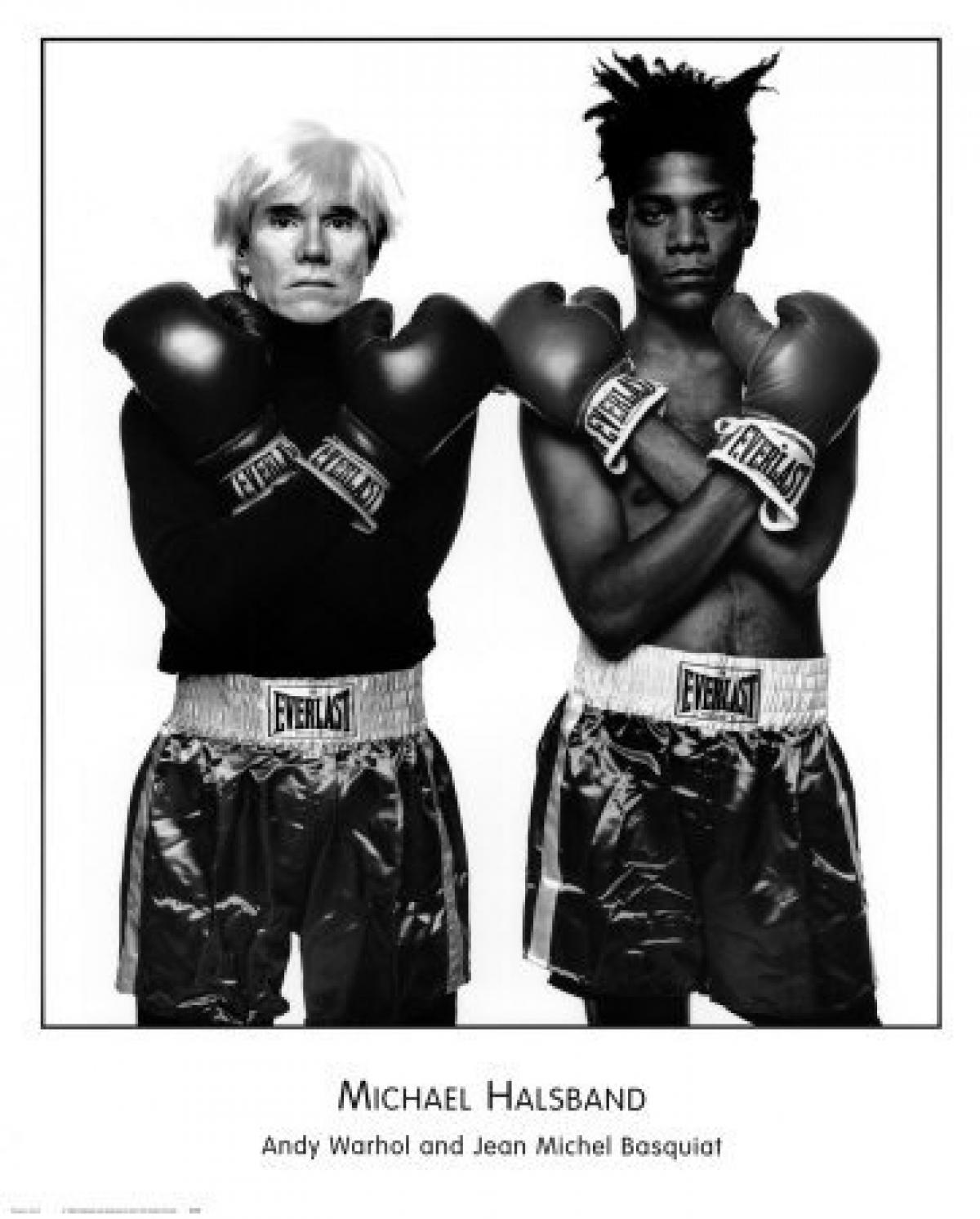 Jean-Michel Basquiat and Andy Warhol boxing photograph The Mantle