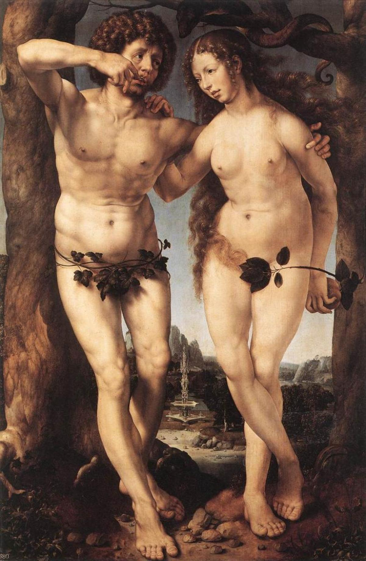 Adam and Eve (1520) by Jan Mabuse The Mantle