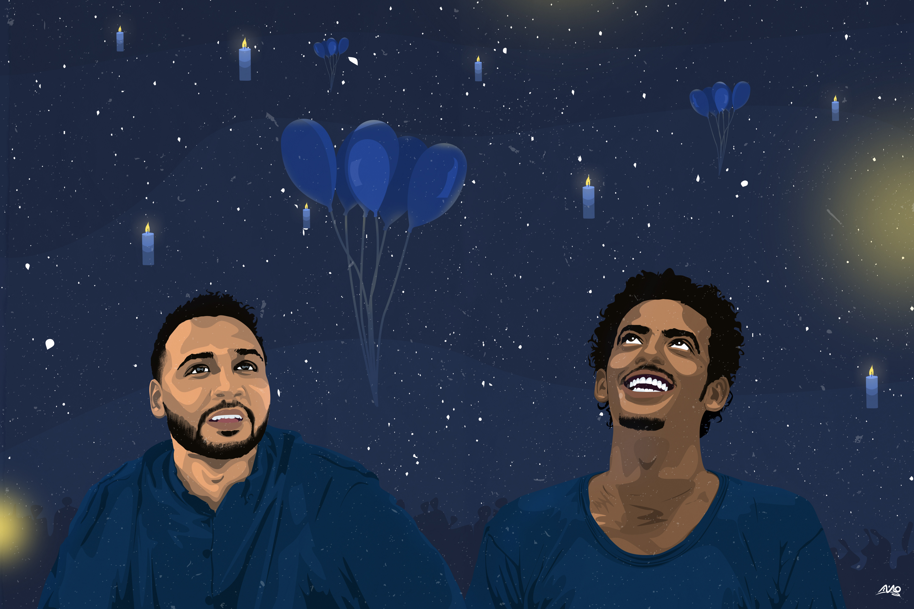 Blue Martyrs - smiling Mohamed Mattar and Abdelsalam Kisha surrounded by balloons and stars