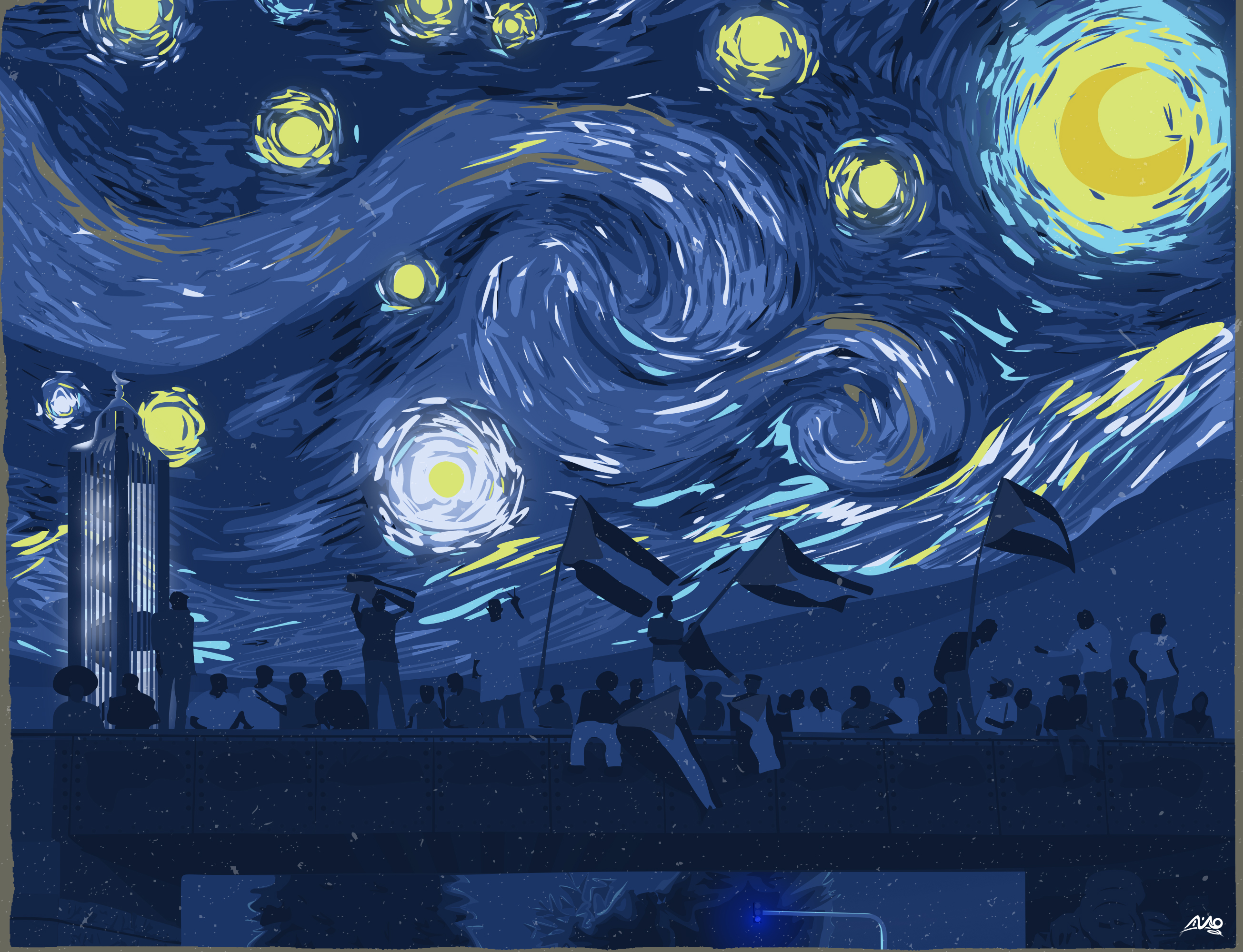 Mounir Khalil Blue Night - Sudanese protesters overlayed with Van Gogh's Starry Night