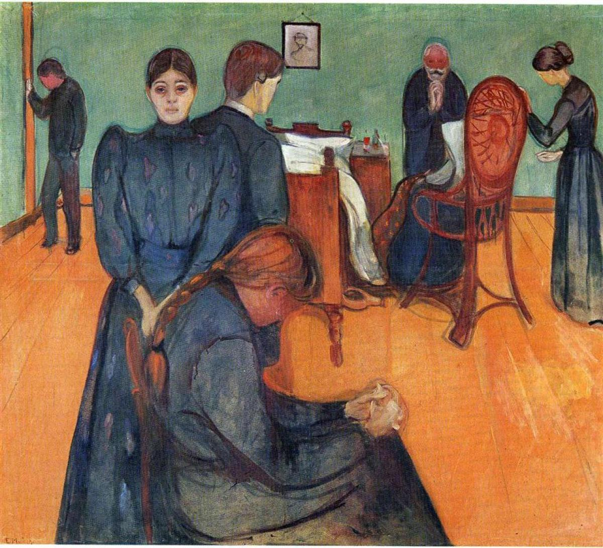 Death in the Sickroom (1893) by Edvard Munch Epicurus The Mantle