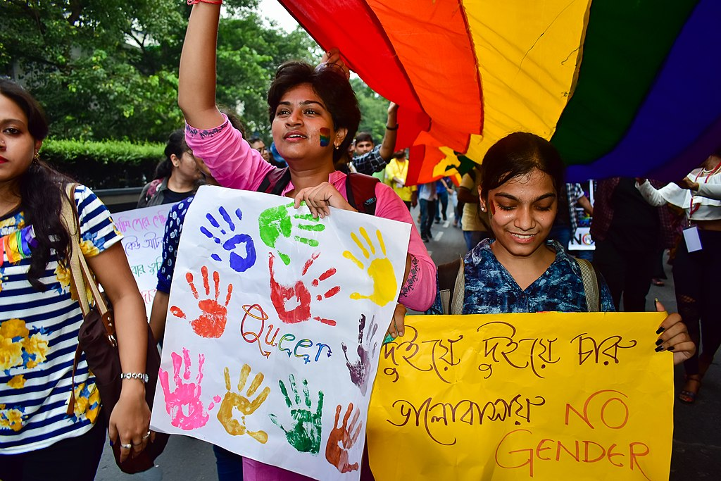 "The Mantle Image India Protestors out with signs saying ""queer"" and ""no gender"""
